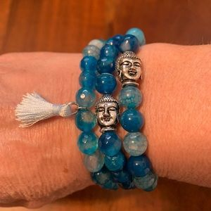 Jewelry - Handmade blue banded agate bracelets set of 3